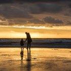 Kleines Mädchen mit Mutter stehen am Strand — Stockfoto