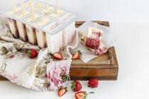 Ghiaccioli gelato vaniglia e rabarbaro — Foto stock