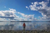 Мальчик, стоящий у кромки воды — стоковое фото