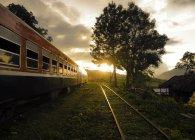 Train driving through rural landscape — Stock Photo