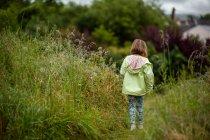 Девушка гуляет по полю длинной травы — стоковое фото