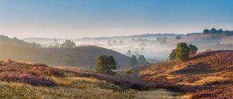 Mist covered Posbank Valley, Koninkrijk, Netherlands - foto de stock