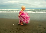Girl wearing pink dress standing on beach on windy day — Stock Photo