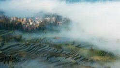 Vista panorámica de los campos de arroz en terrazas y la ciudad cubierta por la niebla, Yunnan, China - foto de stock