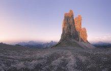 Scenic view of triple peaks of Tre Cime, Dolomites, Italy — Stock Photo