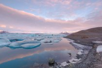Vista panorâmica da lagoa glaciar, Jokulsarlon, Islândia — Fotografia de Stock