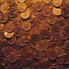 Closeup view of canadian pennies in heap — Stockfoto