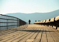 Grecia, Attica Periferia, Porto Rafti, Person walking through wooden footbridge — Foto stock