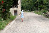 Задній вид дівчина, що йде уздовж гірській дорозі — стокове фото