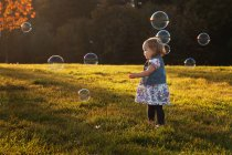 Girl standing surrounded by soap bubbles in park — Stock Photo