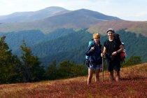 Coppia di giovani viaggiatori caucasici in posa in montagna con zaini — Foto stock