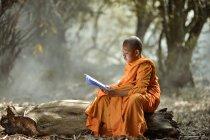 Monaco buddista novizio di lettura di apprendimento che si siede sul registro all'aperto, Thailandia — Foto stock