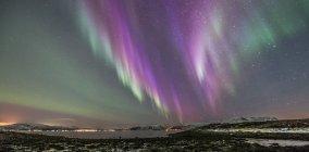 Purple Aurora, Stamnes, Sortland, Norway — Stock Photo