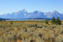 Vista panorámica de montañas, Wyoming, Estados Unidos, Estados Unidos - foto de stock