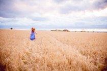 Рыжая девушка бежит по ячменному полю — стоковое фото