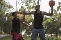 Basketball-Spieler in den Park bei Sonnenuntergang wieder Gegner halten — Stockfoto
