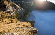 Женская тропа, бегущая в горах над облаками, Зальцбург, Австрия — стоковое фото