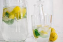 Glass and jug of water with fresh lemon, lime, mint and ice cubes — Stock Photo