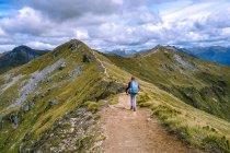 Дівчина походи Кеплер трек, Південного острова, Нова Зеландія — стокове фото