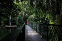 Woman walking along treetop walkway, Niort, France — Stock Photo