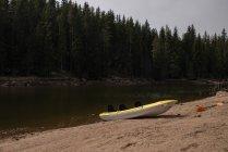 Malerische Aussicht auf Kanu am Flussstrand — Stockfoto