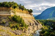 Cile, Araucania, Conguillio National Park, vista panoramica della rupe boscosa sopra il fiume — Foto stock