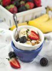 Ciotola di yogurt e muesli con frutti di bosco freschi, closeup — Foto stock