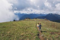 Заднього виду двох дітей, що проходить через Туманний гори — стокове фото