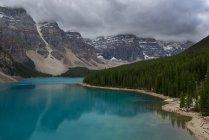 Vista panorámica del lago maligne y montañas, Alberta, Canadá - foto de stock
