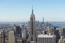 Vista panorámica del horizonte de Manhattan, Nueva York, EE.UU. - foto de stock