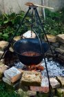 Preparation process of traditional hungarian goulash in pot hanging over a fire — Stock Photo