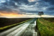 Route à travers le paysage rural, Warwickshire, Angleterre, Royaume-Uni — Photo de stock