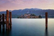 Sunset in Orta San Giulio, Lago DOrta, Italy — Stock Photo