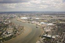 Luftaufnahme von o2 arena und greenwich peninsula, greenwich, london, united Kingdom — Stockfoto
