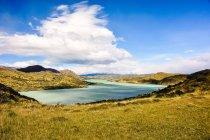 Vista panorámica de Pehoe lago, Chile, Magallanes, Parque Nacional Torres del Paine - foto de stock