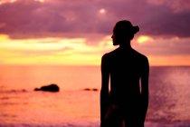 Silhueta de uma mulher em pé na praia ao pôr do sol — Fotografia de Stock