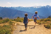 Rear view of boys running on path through mountains — Stock Photo