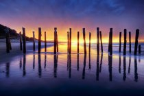 Sunrise over Old Jetty Remains, St Clair beach, Dunedin, South Island, New Zealand — Stock Photo