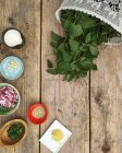 Ingredients for ground elder soup, food preparation concept — Stock Photo