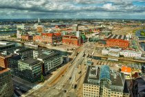 Scenic view of City skyline, Malmoe, Skaane, Sweden — Stock Photo
