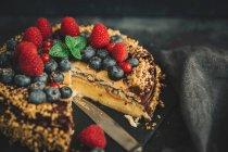Torta gustosa con cioccolato e frutta fresca — Foto stock