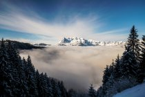 Mountain peaks above clouds, Salzburg, Austria — Stock Photo