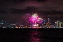 Fireworks over city, San Francisco, California, America, USA — Stock Photo
