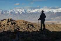 Hiker looking at view, Inyo National Forest, California, America, USA — Stock Photo