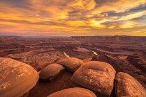 Pôr do sol em Dead Horse Point, Moab, Utah, América, EUA — Fotografia de Stock