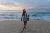 Woman wearing a Christmas Santa hat walking on beach carrying a pineapple, Haleiwa, Hawaii, America, USA — Stock Photo