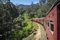 Treno che guida attraverso il paesaggio rurale, Nuwara Eliya, Provincia Centrale, Sri Lanka — Foto stock