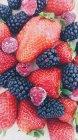 Strawberries, blackberries and raspberries on a chopping board — Stock Photo