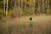Vista posteriore del ragazzo che gioca in un campo — Foto stock