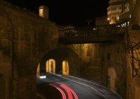 Scenic view of Victoria Gates at night, Valletta, Malta — Stock Photo
